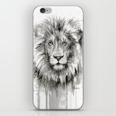Lion Watercolor Black and White Animal Portrait iPhone & iPod Skin