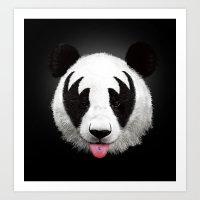 panda Art Prints featuring Kiss of a panda by Robert Farkas