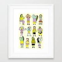 KIDS AND PIZZA Framed Art Print