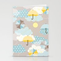 Umbrellas in the clouds Stationery Cards