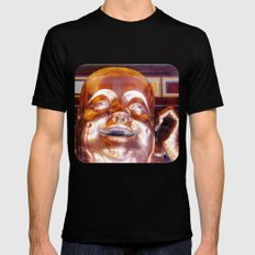 Shiny, Happy Buddha  SMALL Black Mens Fitted Tee
