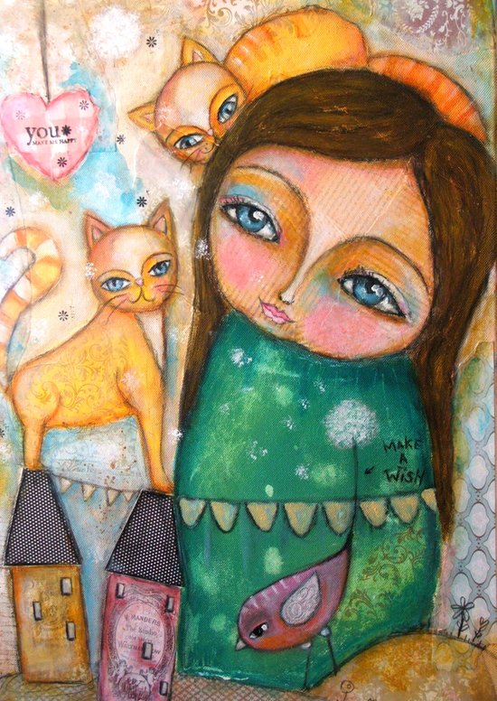 Make a Wish! girl and Kittens Art Print