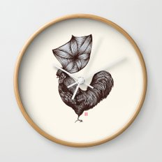 Hen's 3D hair Wall Clock
