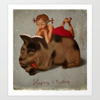 Sleeping & Reading Art Print