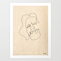 One Line Big Lebowski (T… Art Print