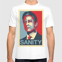 Jon Stewart - SANITY Mens Fitted Tee White SMALL