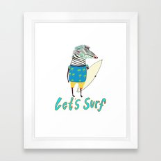 Surfer, surfing, surfboard,  Framed Art Print