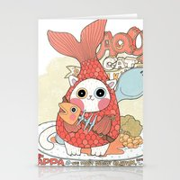 Aqua cat_ Rappa Stationery Cards