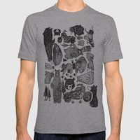 Bear And Motorcycles Mens Fitted Tee Athletic Grey SMALL