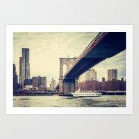 Vintage Brooklyn Bridge Art Print