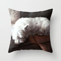 Dog Tired Throw Pillow