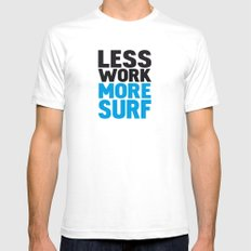 Less work more surf Mens Fitted Tee SMALL White