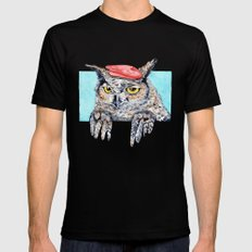 Serious Horned Owl in Red Beret  Mens Fitted Tee Black SMALL