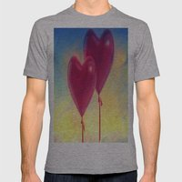 Love heart Balloons Mens Fitted Tee Athletic Grey SMALL