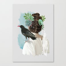 Girl&bird Canvas Print