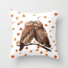 autumn owl Throw Pillow