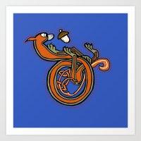 Medieval Blue Squirrel letter D Art Print