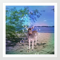 Bubbles With Zebra Art Print