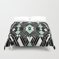 Art Deco Zoom Mint Duvet Cover