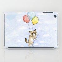 Cat With Balloons Grumpy Birthday Meme iPad Case