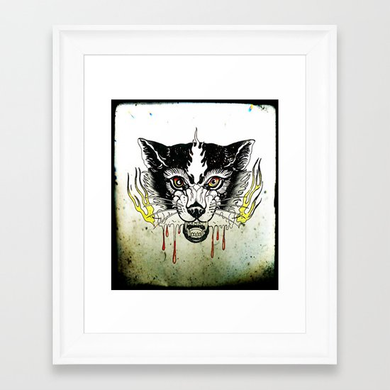 Space Cat King Fire Framed Art Print