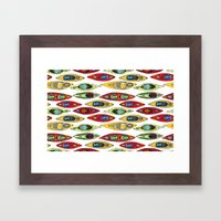 I Heart Kayaks Pattern Framed Art Print