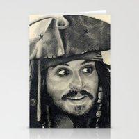 Captain Jack Sparrow ~ Johnny Depp Traditional Portrait Print Stationery Cards
