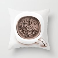 Tea Twigs Throw Pillow