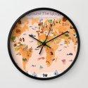 Worldwide map for kids. Wall Clock