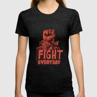FIGHT EVERYDAY Womens Fitted Tee Tri-Black SMALL