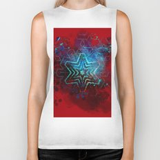 Glowing abstract blue star on blood red Biker Tank