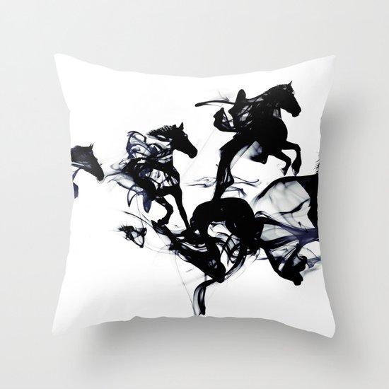 Black horses Throw Pillow