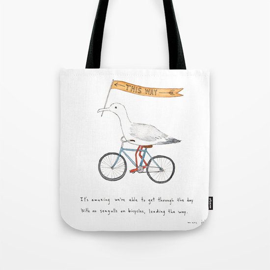 seagulls on bicycles Tote Bag