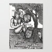 The poet telling tales to slumbering fruit Canvas Print