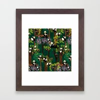 Both Species of Panda - Green Framed Art Print