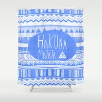 Hakuna Matata electric blue  Shower Curtain