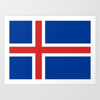 National flag of Iceland - Authentic Art Print