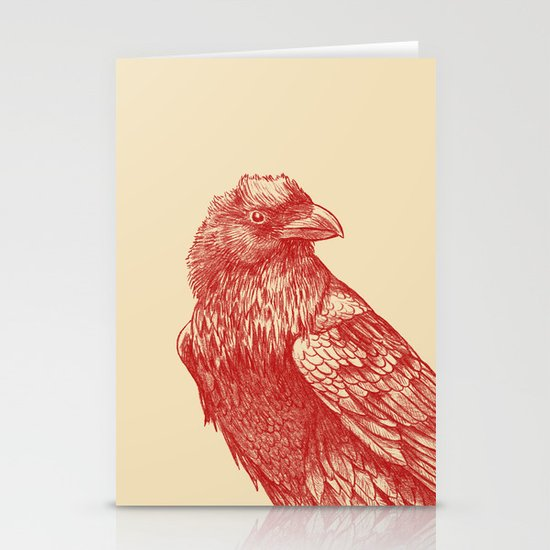 Red Raven  Stationery Card