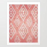 mint & coral tribal pattern (2) Art Print
