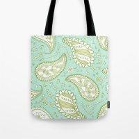 Pretty Paisley - Aqua/Gr… Tote Bag
