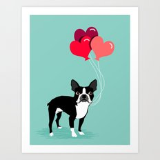 Boston Terrier Valentine… Art Print