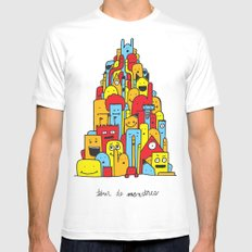 Monster Tower Mens Fitted Tee SMALL White
