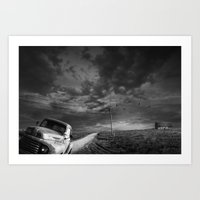 Decline of the Small American Farm in Black and White Art Print