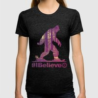 #Ibelieve Big Foot Womens Fitted Tee Tri-Black SMALL