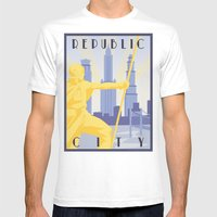 Republic City Travel Poster Mens Fitted Tee White SMALL