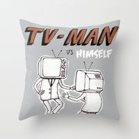 tv man vs himself Throw Pillow