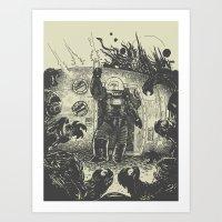 Space Slugs Die Easy Art Print