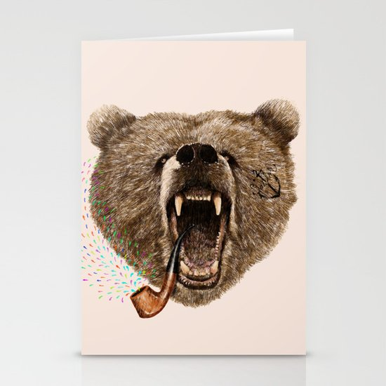 Angry Bear Stationery Card
