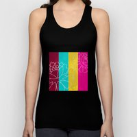 Chinese Flowers & Stripes - Pink Yellow Cyan Red Unisex Tank Top