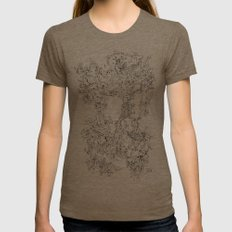 Pasolini`s Garden Womens Fitted Tee Tri-Coffee SMALL